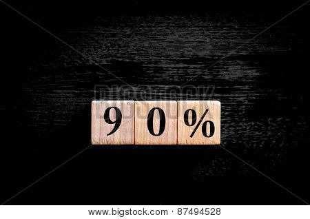 Ninety Percent Symbol Isolated On Black Background With Copy Space
