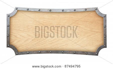 wood signboard with forged frame isolated on white