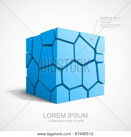 Cracked vector blue cube