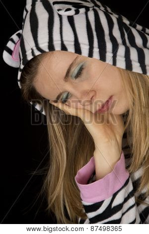 Portrait Of A Woman Sleeping Wearing Cat Pajamas