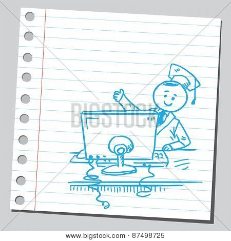 Graduate student with computer