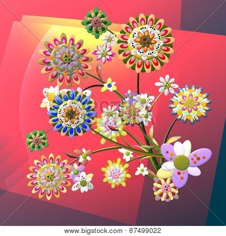 3D illustration with floral concept