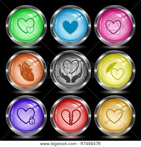 Heart shape set. Internet button. Vector illustration.