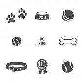 stock photo of dog footprint  - Dog stuff icons set - JPG