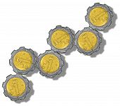 pic of pesos  - Mexican Peso gears growing like a graph - JPG
