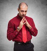 stock photo of strangle  - Portrait of a shady businessman - JPG