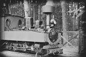 stock photo of locomotive  - small green old steam locomotive rides on rails - JPG