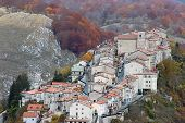 stock photo of apennines  - Aerial view of the small town of Opi in central Italy - JPG
