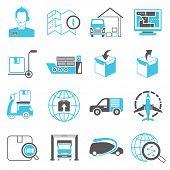 stock photo of ship  - set of 16 logistics and shipping icons - JPG