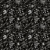 pic of silkscreening  - Vintage traditional tattoo biker seamless pattern - JPG
