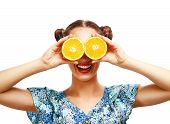 pic of joy  - Beauty Model Girl with Juicy Oranges - JPG