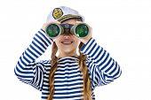 stock photo of vest  - Joyful teen girl wearing sailor - JPG