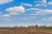picture of farm-house  - Agricultural Landscape with vineyard and farm house in the background - JPG