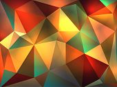 image of peach  - A colorful and warm abstract background of glowing triangles of reds greens oranges peach colors illustration - JPG
