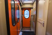 stock photo of railroad car  - The image of corridor in the compartment car - JPG