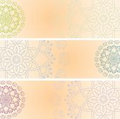 stock photo of indian elephant  - Set of 3 colorful traditional Indian henna elephant mandala design horizontal banners with space for text - JPG