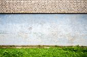 picture of brick block  - White brick wall with some green grass - JPG