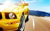 stock photo of car ride  - Yellow sport car - JPG