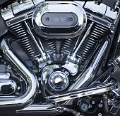 Polished V-twin Motorcycle Motor poster