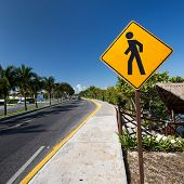 stock photo of pedestrian crossing  - Pedestrian crossing sign on tropical street road - JPG
