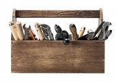 foto of chisel  - Wooden toolbox with old tools - JPG