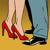 stock photo of waltzing  - The love of a man and a woman dance hugs pop art comics retro style Halftone - JPG