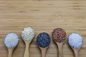 Постер, плакат: Variety Of Rice In Wood Spoon On Wood Background Showing Unpolished Rice And Polished Rice