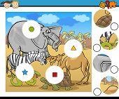 image of brain teaser  - Cartoon Illustration of Match the Pieces Educational Game for Preschool Children - JPG