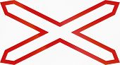 image of railroad-sign  - Argentinian warning sign for single track unguarded level crossing horizontal variant - JPG