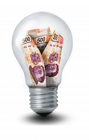 foto of pesos  - Lightbulb filled with five hundred Mexican peso bills - JPG