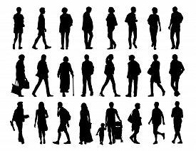 pic of street-walker  - big set of black silhouettes of men and women of different ages walking in the street front profile and back views - JPG