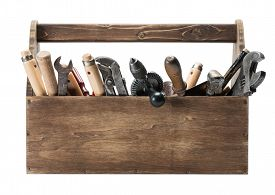 picture of chisel  - Wooden toolbox with old tools - JPG