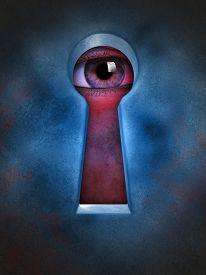 image of keyholes  - Human eye spying through a keyhole - JPG