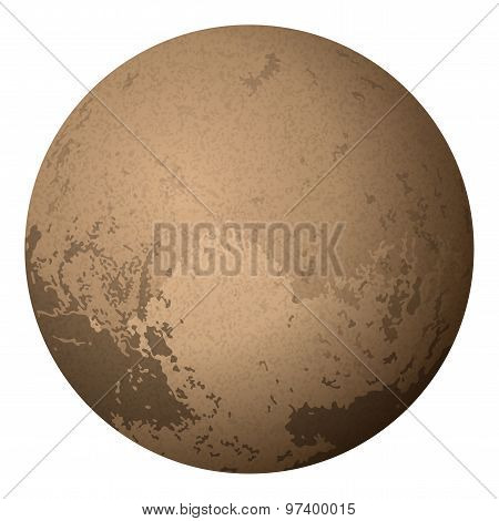Dwarf Planet Pluto, Isolated on White