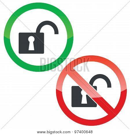 Unlock permission signs set