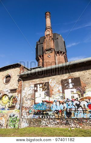 Old Historic Watertower Build Of Bricks In Wiesbaden