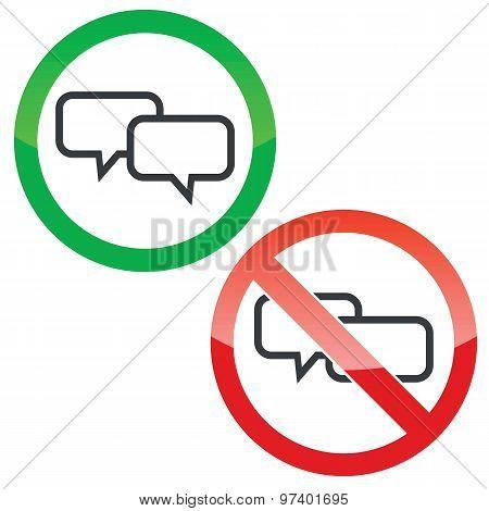 Chat permission signs set