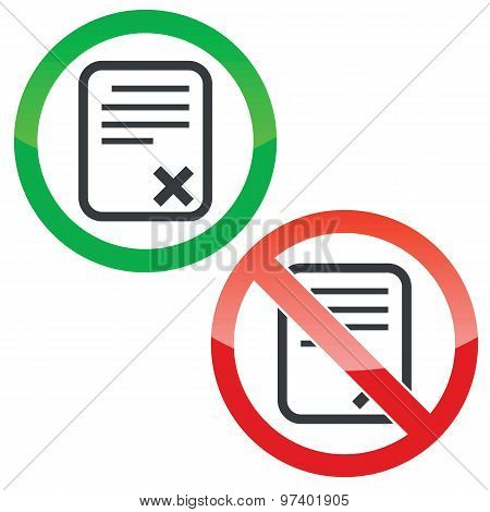 Decline document permission signs set