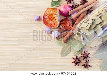 Food Cooking Ingredients. - Spice Tast With Copy Space.