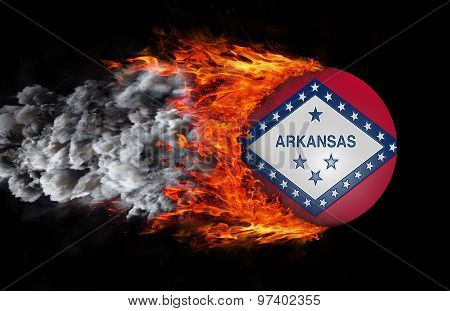 Flag With A Trail Of Fire And Smoke - Arkansas