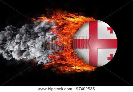 Flag With A Trail Of Fire And Smoke - Georgia