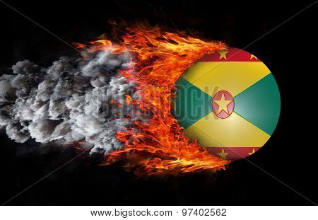 Flag With A Trail Of Fire And Smoke - Grenada