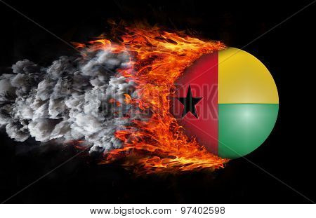Flag With A Trail Of Fire And Smoke - Guinea Bissau
