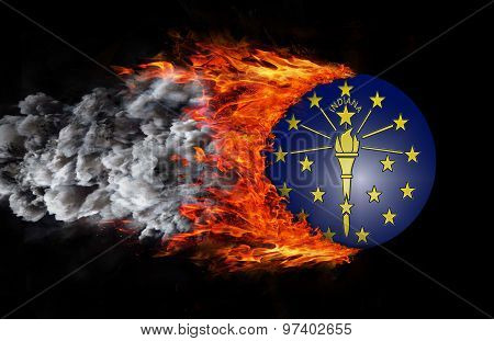Flag With A Trail Of Fire And Smoke - Indiana
