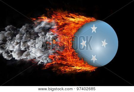 Flag With A Trail Of Fire And Smoke - Micronesia