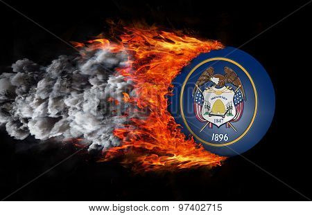 Flag With A Trail Of Fire And Smoke - Utah