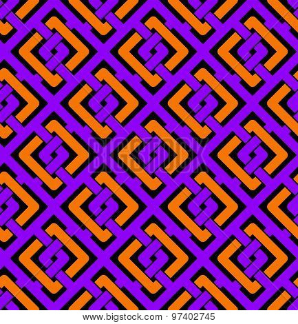 Colorful geometric seamless pattern, symmetric endless vector background with intertwine lines.
