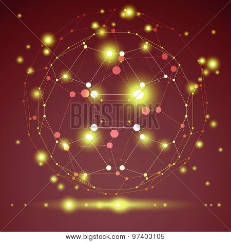 Abstract vector 3D wireframe geometric object, clear eps 10.