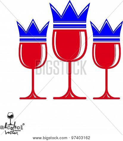 Sophisticated luxury wineglasses with king crown, graphic artistic vector goblets collection.