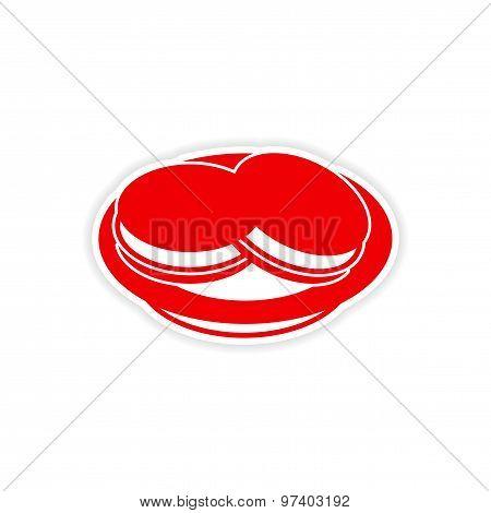 icon sticker realistic design on paper ice cream dish